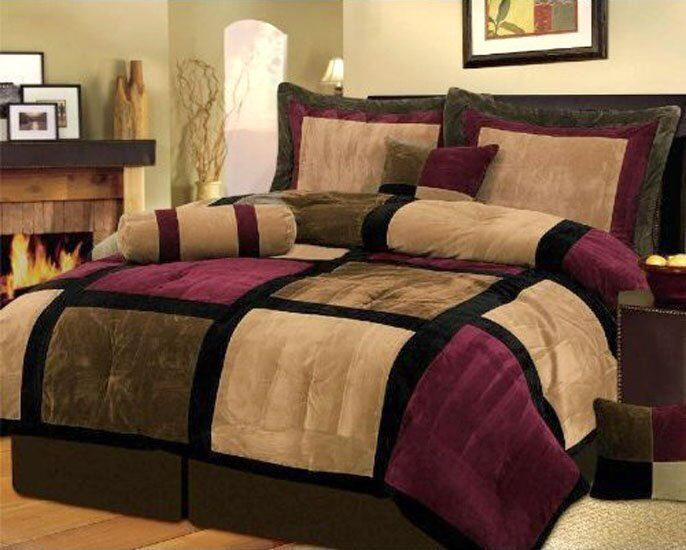 7 Piece Micro Suede Patchwork Duvet Cover Set Brown