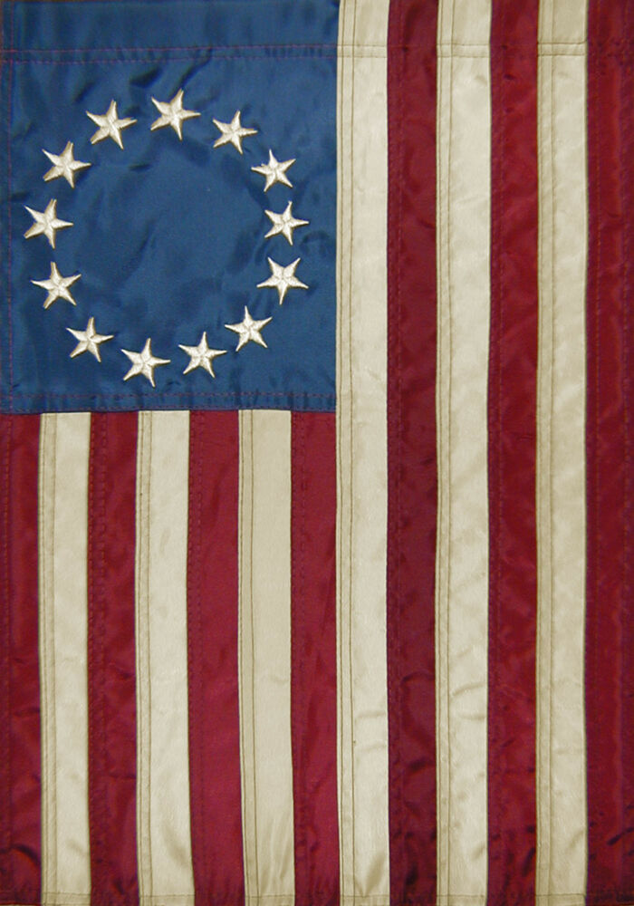 Betsy ross applique tea stained american flag 2 sided for American flag decoration
