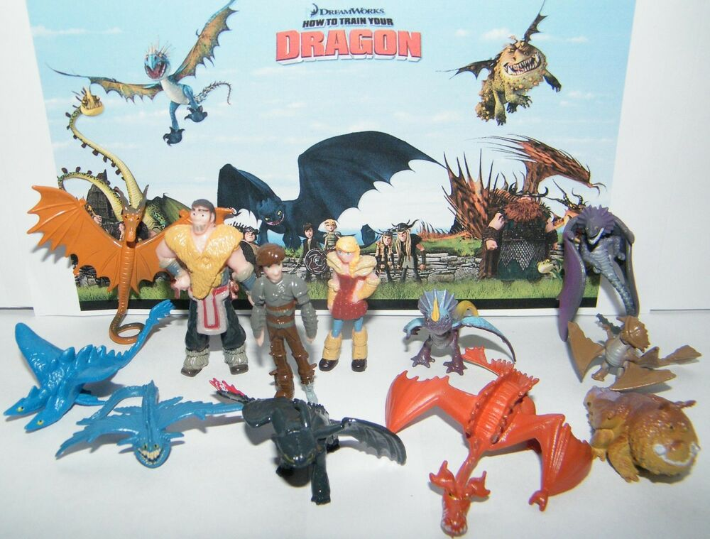 how to train your dragon figure set of 12 w 9 dragons hiccup and more ebay. Black Bedroom Furniture Sets. Home Design Ideas