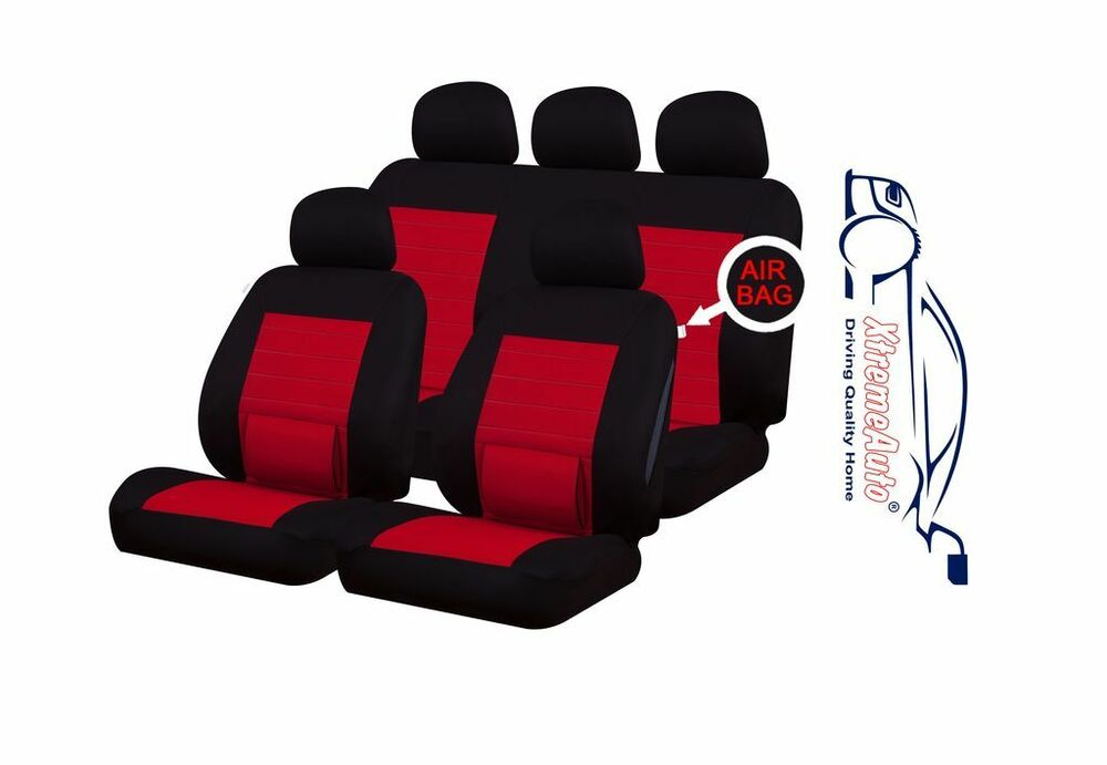 9 pce camden red lumbar support full set of car seat covers peugeot 207 307 407 ebay. Black Bedroom Furniture Sets. Home Design Ideas