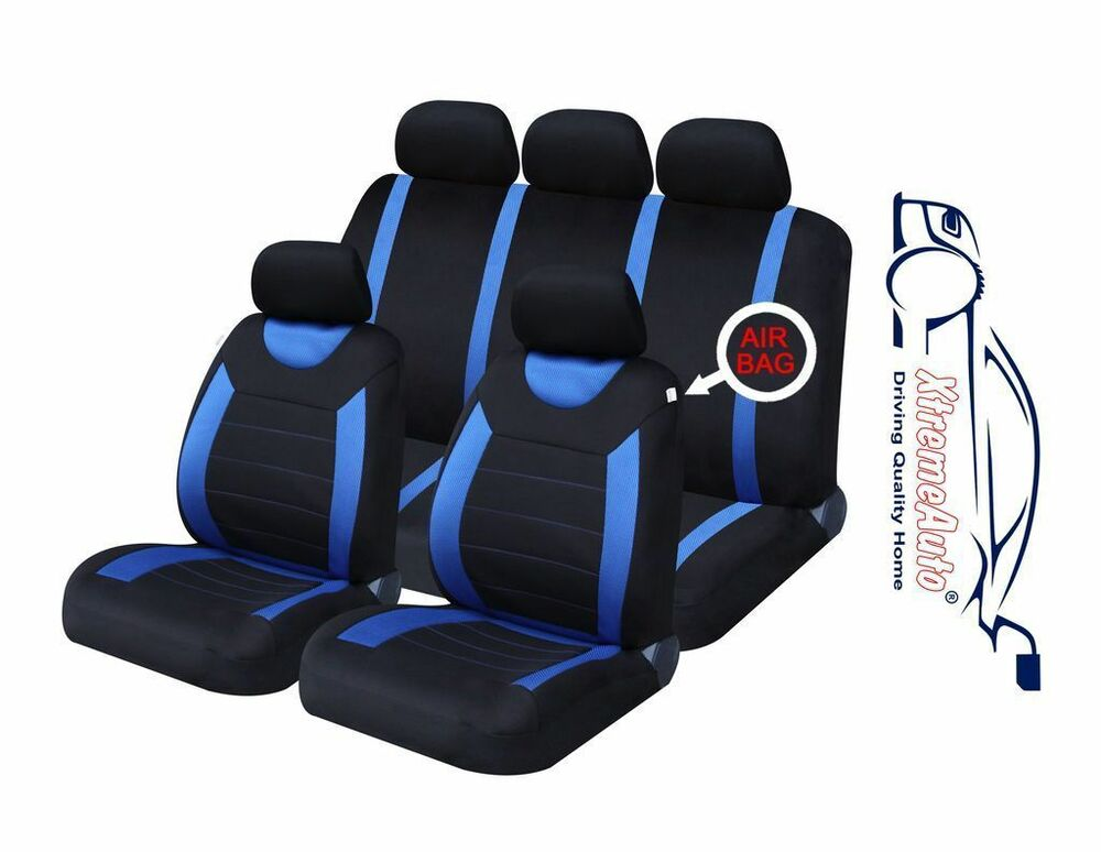 9 PCE Sports Carnaby Blue Black Full Set Of CAR Seat
