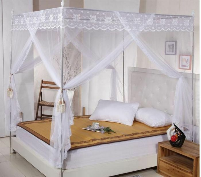 White Lace 4 Corners Post Bed Canopy Mosquito Net For Twin