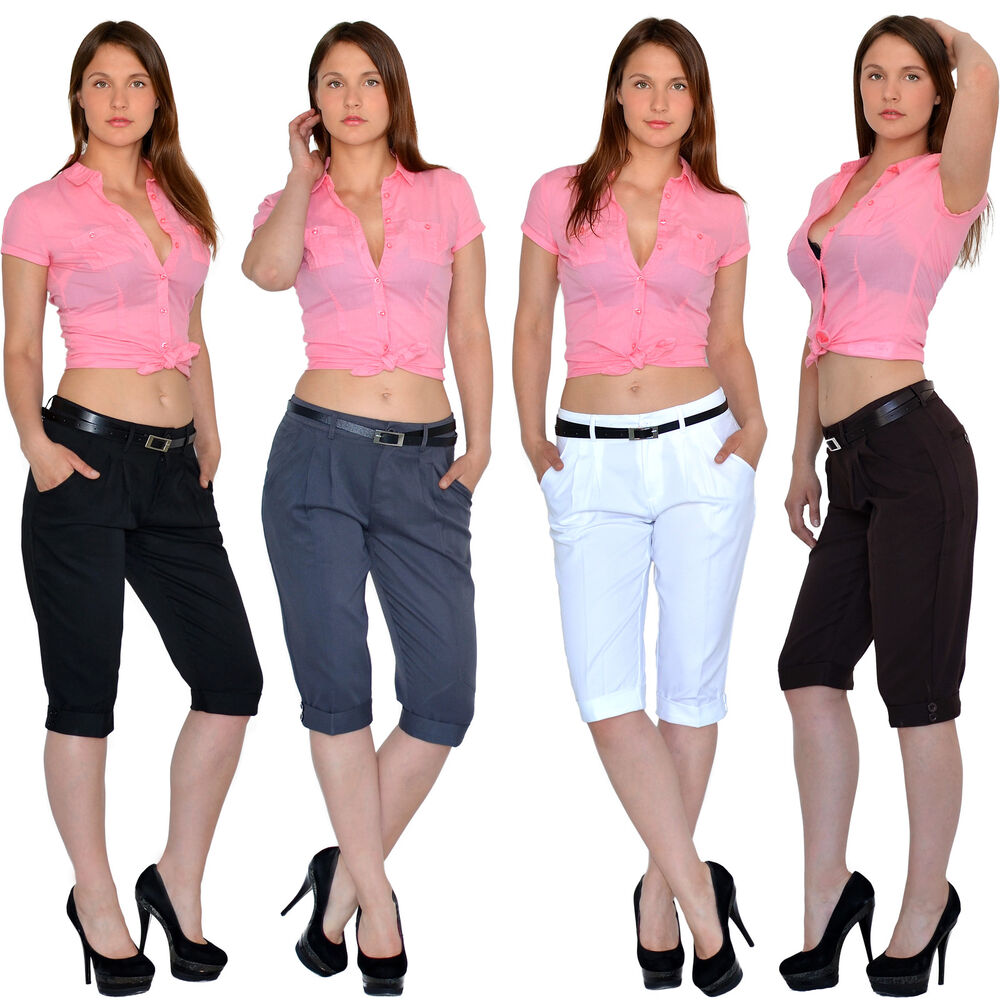 damen capri hose caprihose chino stoffhose sommerhose in aktuellen farben h160 ebay. Black Bedroom Furniture Sets. Home Design Ideas