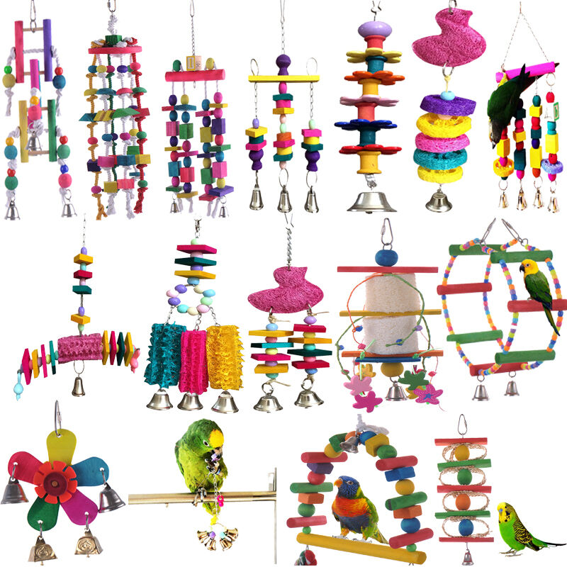 Wood Bird Toys : Parrot pet bird chew cages hang toys wood large rope cave