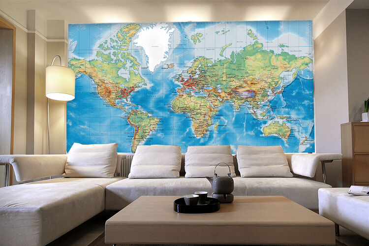 3D Business World Map Wall Paper Wall Print Decal Wall