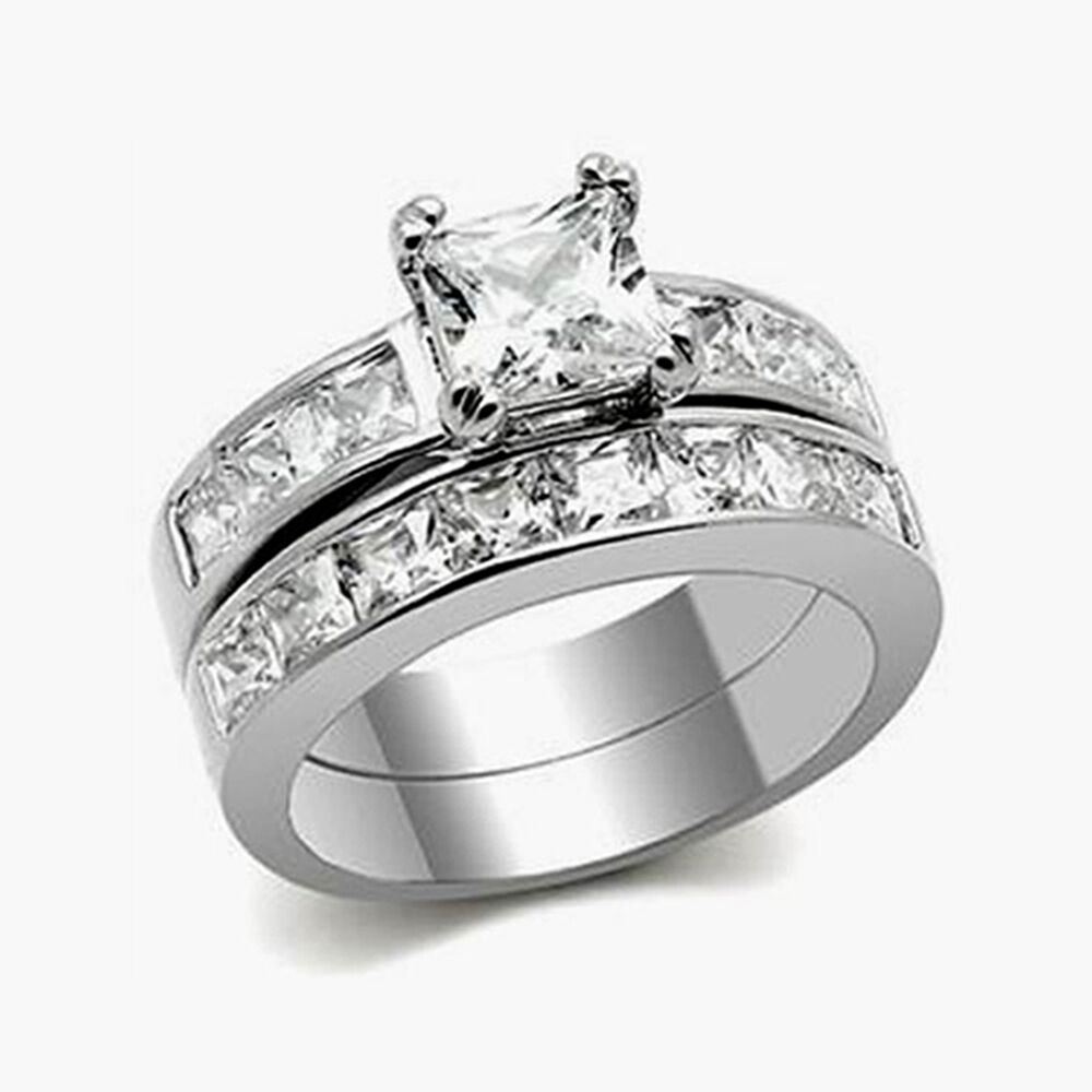 cttw princess cut aaa cz stainless steel wedding ring. Black Bedroom Furniture Sets. Home Design Ideas