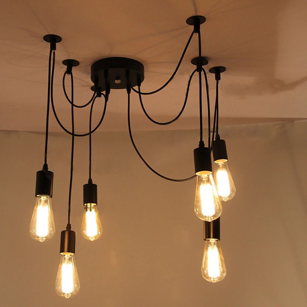 6 Heads Vintage Industrial Edison Ceiling Lamp Chandelier
