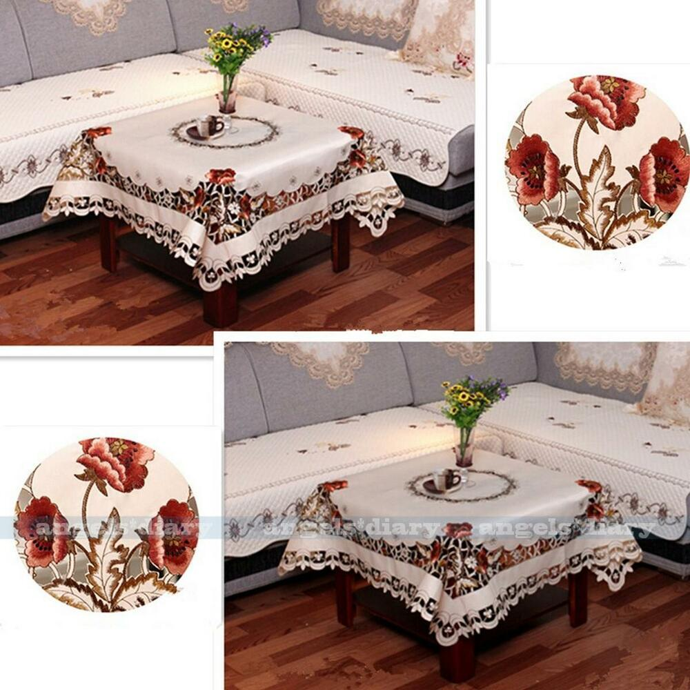 square peony embroidered cutwork tablecloth table home topper cover 4 size 229 ebay. Black Bedroom Furniture Sets. Home Design Ideas