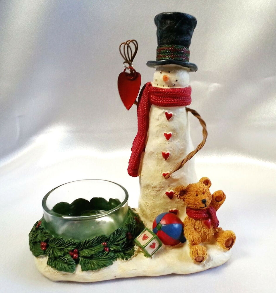 Yankee candle christmas snowman teddy bear wreath folksy for Christmas candle displays