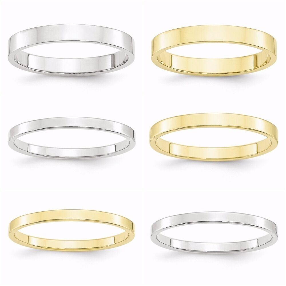10k white yellow gold flat 2mm 2 5mm 3mm wedding band