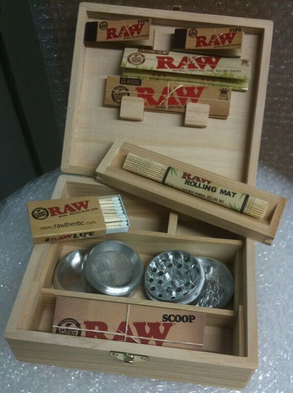 Raw Rolling Large Stash Box Bundle Papers Tips Roller
