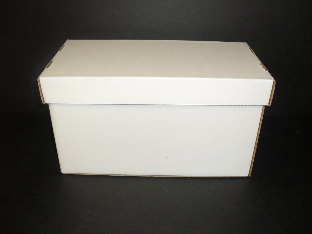 10 white cardboard storage boxes w lids for 45rpm records holds150 7 records ebay. Black Bedroom Furniture Sets. Home Design Ideas