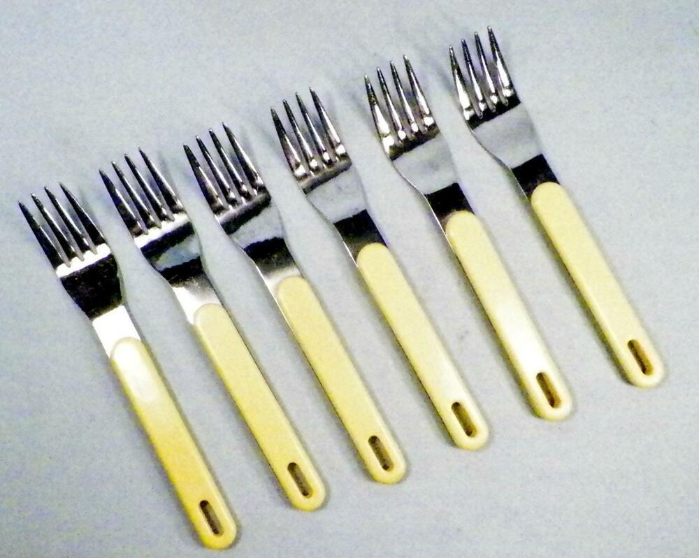 6 Yax Stainless Steel Dinner Forks Sunny Yellow Plastic