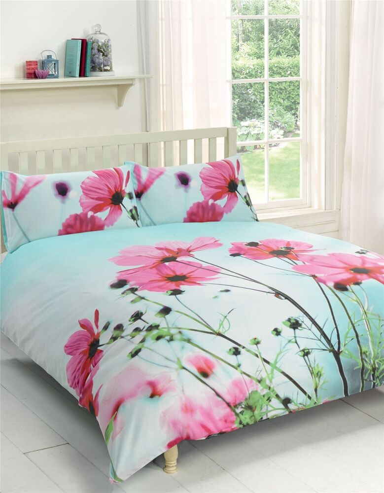 POPPY FLORAL PINK DUCK EGG BLUE KING SIZE COTTON BLEND