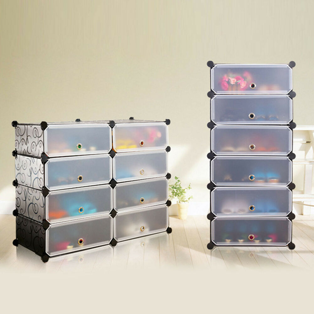 16 Pairs Shoes Interlocking Cube Storage Shoe Rack Stand