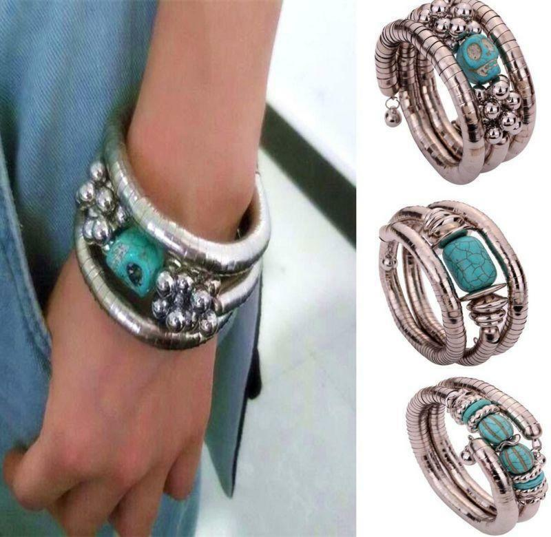 new designs tibetan silver turquoise beads skull bangle stretch