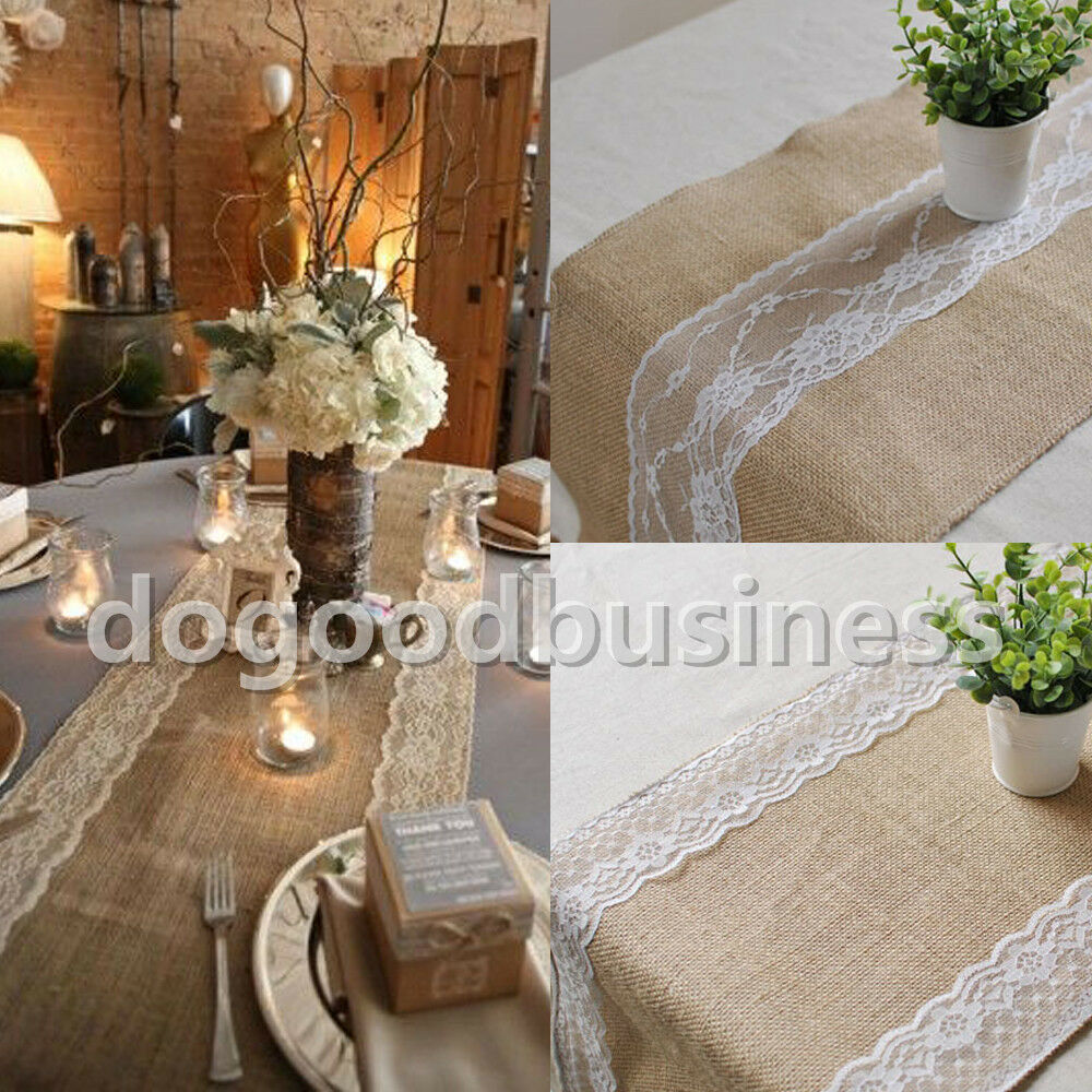 New 12 39 39 X108 Rustic Burlap Lace Hessian Table Runner Natural Jute Wedding Decor Ebay