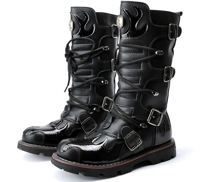 Mens Knee High Leather Boots Shoes