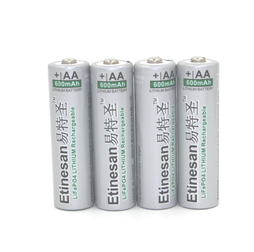 4 pcs 3 2v lifepo4 lithium 14500 aa rechargeable battery 600mah real capacity ebay. Black Bedroom Furniture Sets. Home Design Ideas