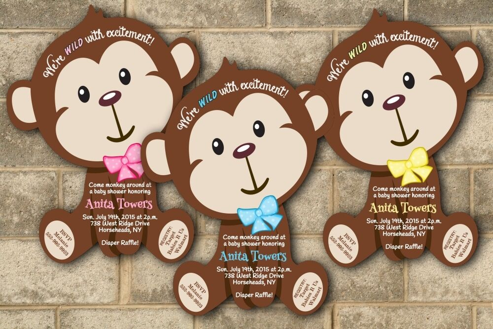 30 jungle monkey safari baby shower invitations boy girl for Baby shower party junge