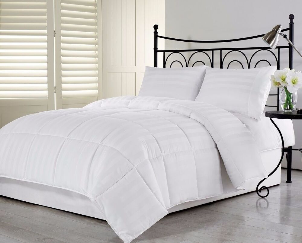 3pcs hotel dobby stripe goose down alternative comforter for White full bedroom set