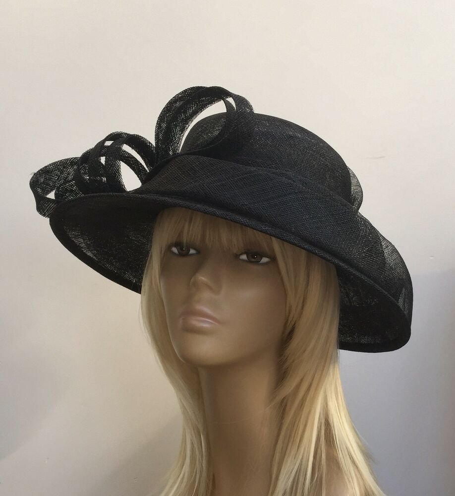 New Black Womens Sinamay Wedding Hat Mother Of The Bride