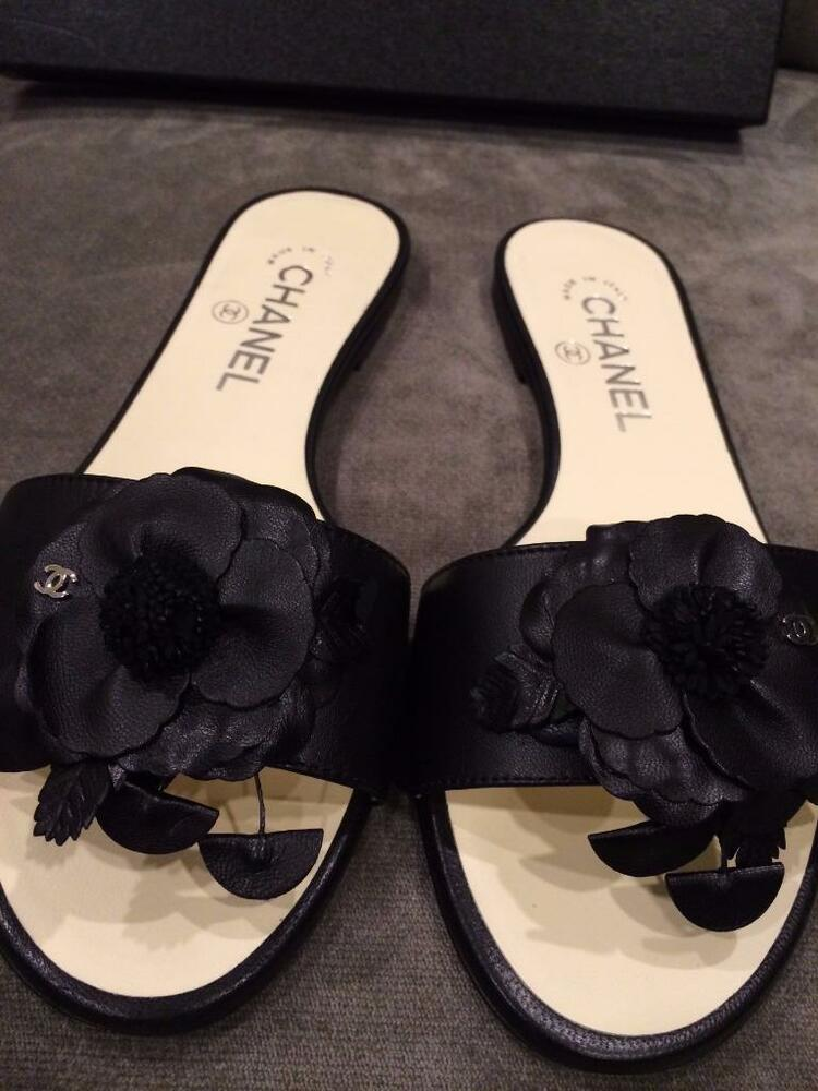 CHANEL 15C Leather Camellia Flower Flat Mules Slides ...