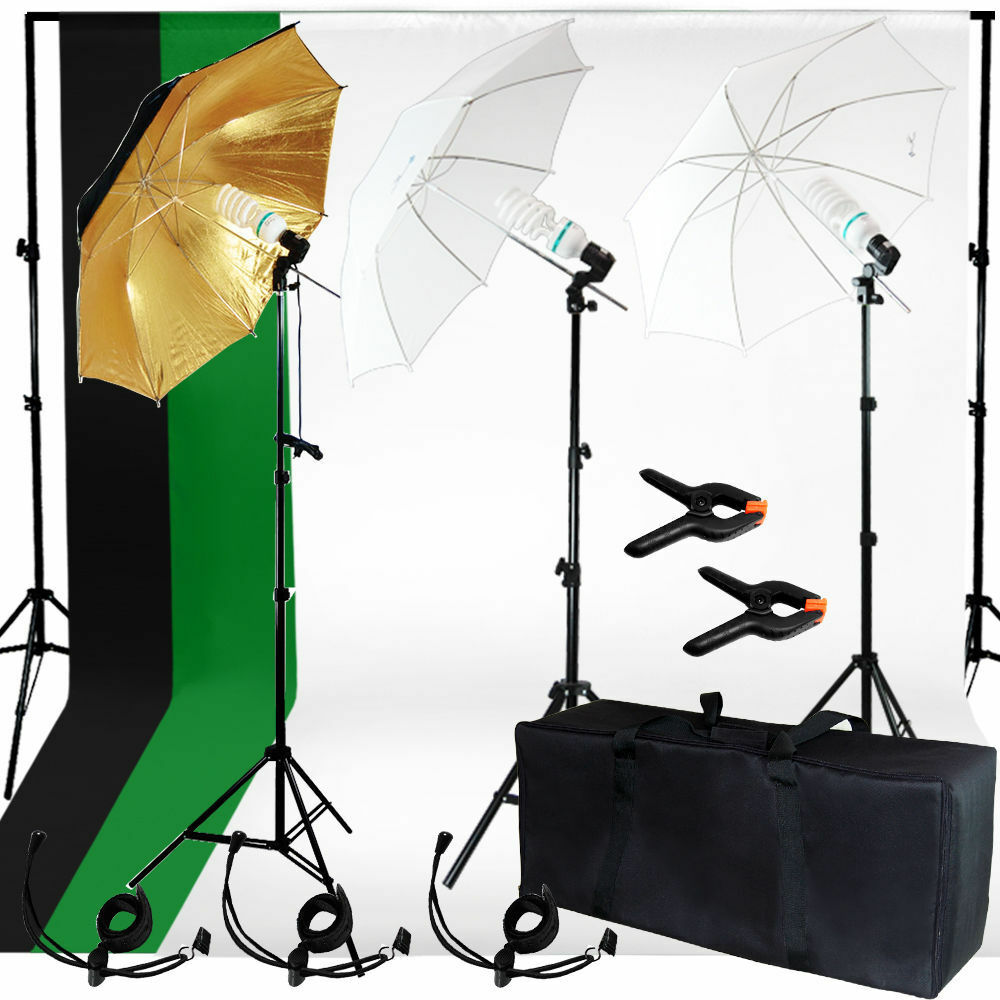 photo studio photography kit 3 light bulb umbrella muslin. Black Bedroom Furniture Sets. Home Design Ideas