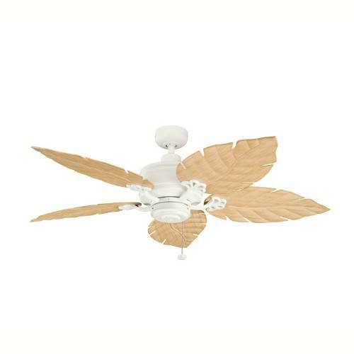 Oak Ceiling Fans With Lights : Satin natural white outdoor indoor ceiling fan with light