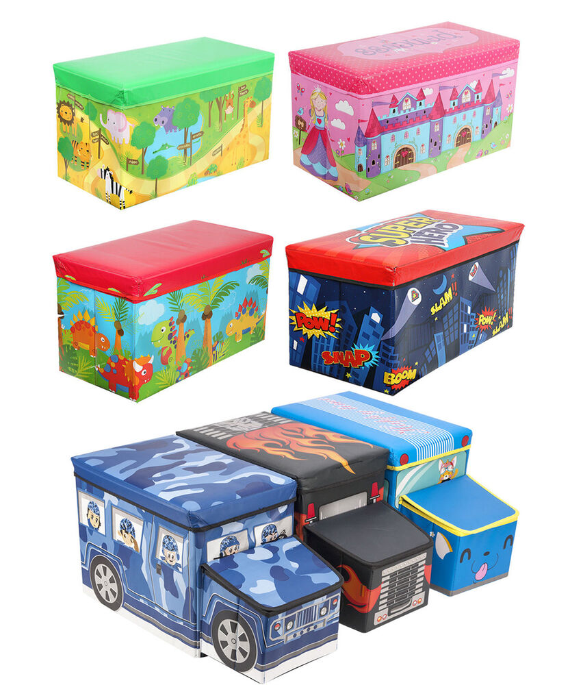 Toy Boxes For Boys : Kids childrens large storage toy box girls boys books