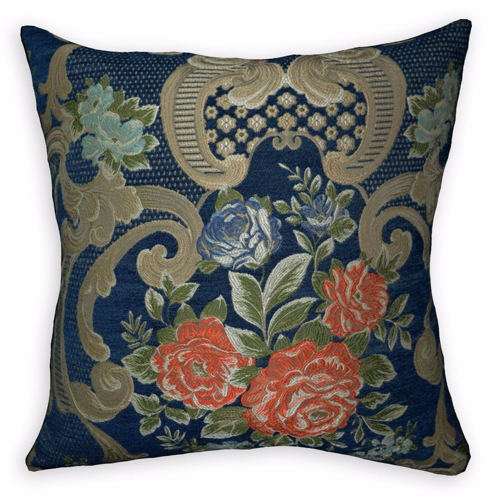 We504a Blue Damask Orange Rose Chenille Throw Pillow Case/Cushion Cover*Size eBay