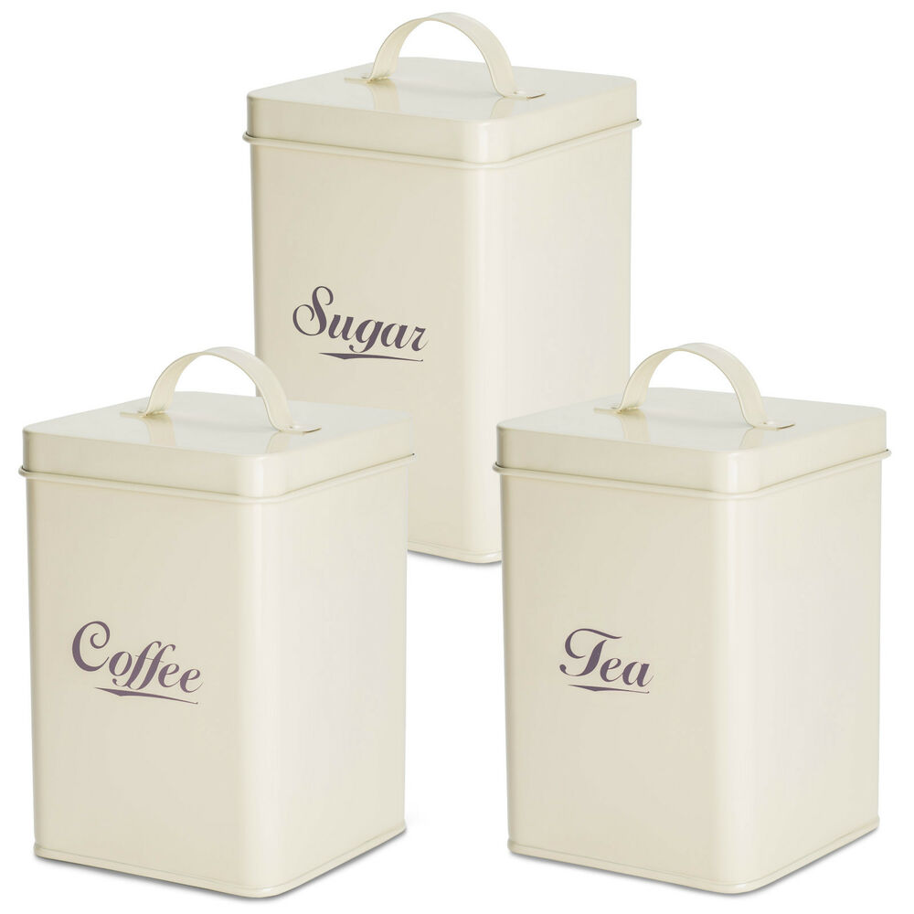 Andrew james 3pc tea coffee sugar canister set vintage for Cream kitchen set