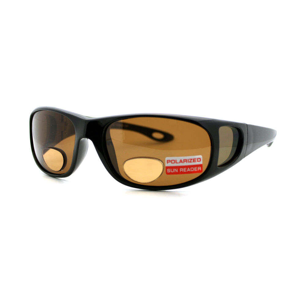 b989931a4baa Details about Polarized + Bifocal Sunglasses Mens Rectangular Black Frame  Brown Lens