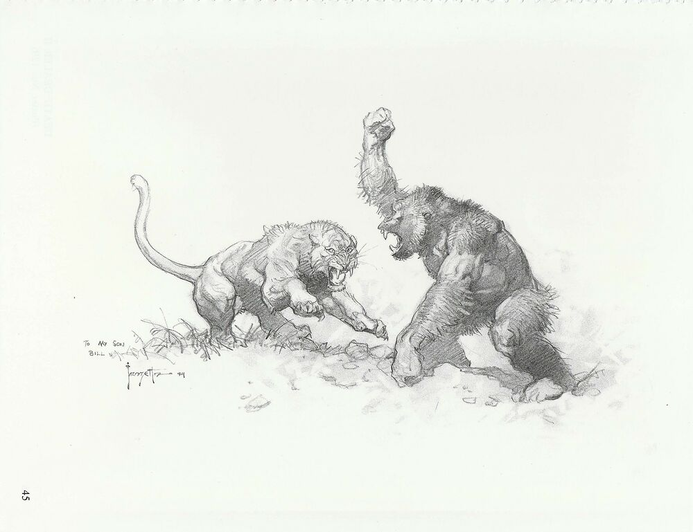 """1996 Full Color Plate /"""" Tooth /& Claw /"""" by Frank Frazetta Fantastic GGA"""
