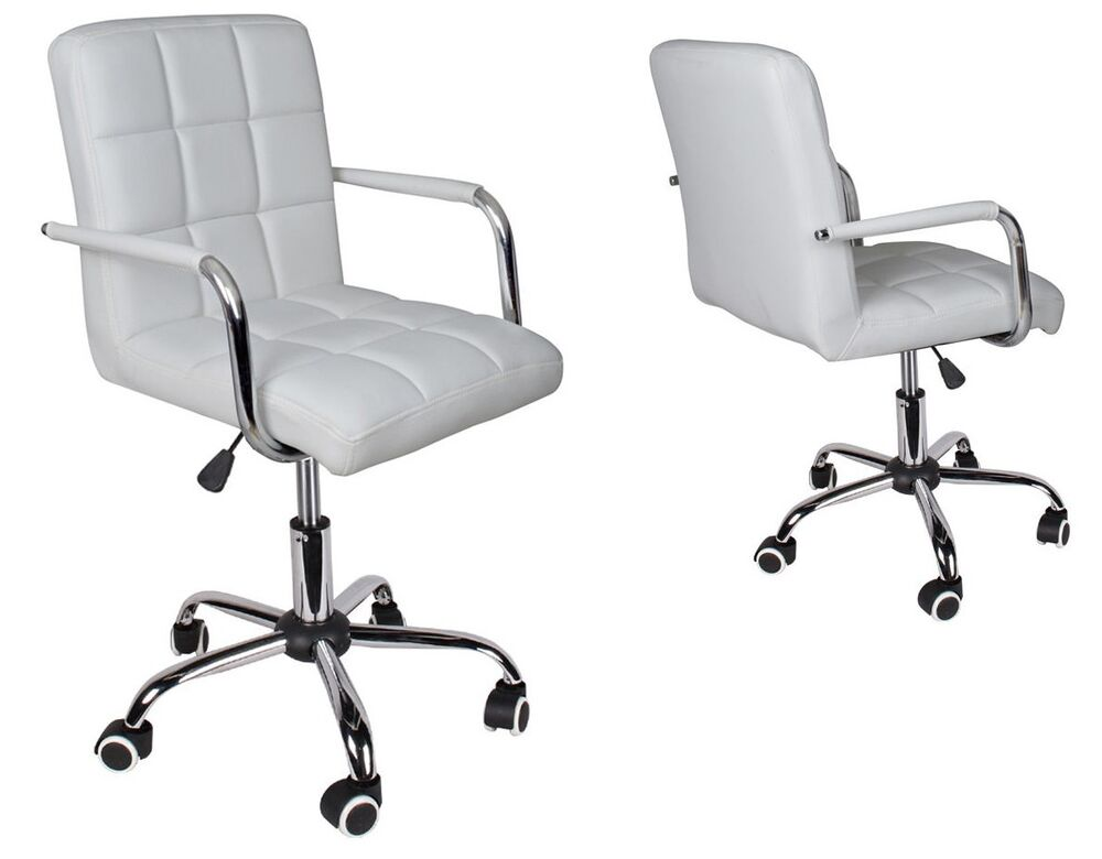 Modern office white leather chair hydraulic swivel for Desk chair white leather