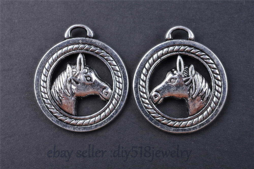 Wholesale horse head motu charm silver pendant diy jewelry for Bulk horseshoes for crafts