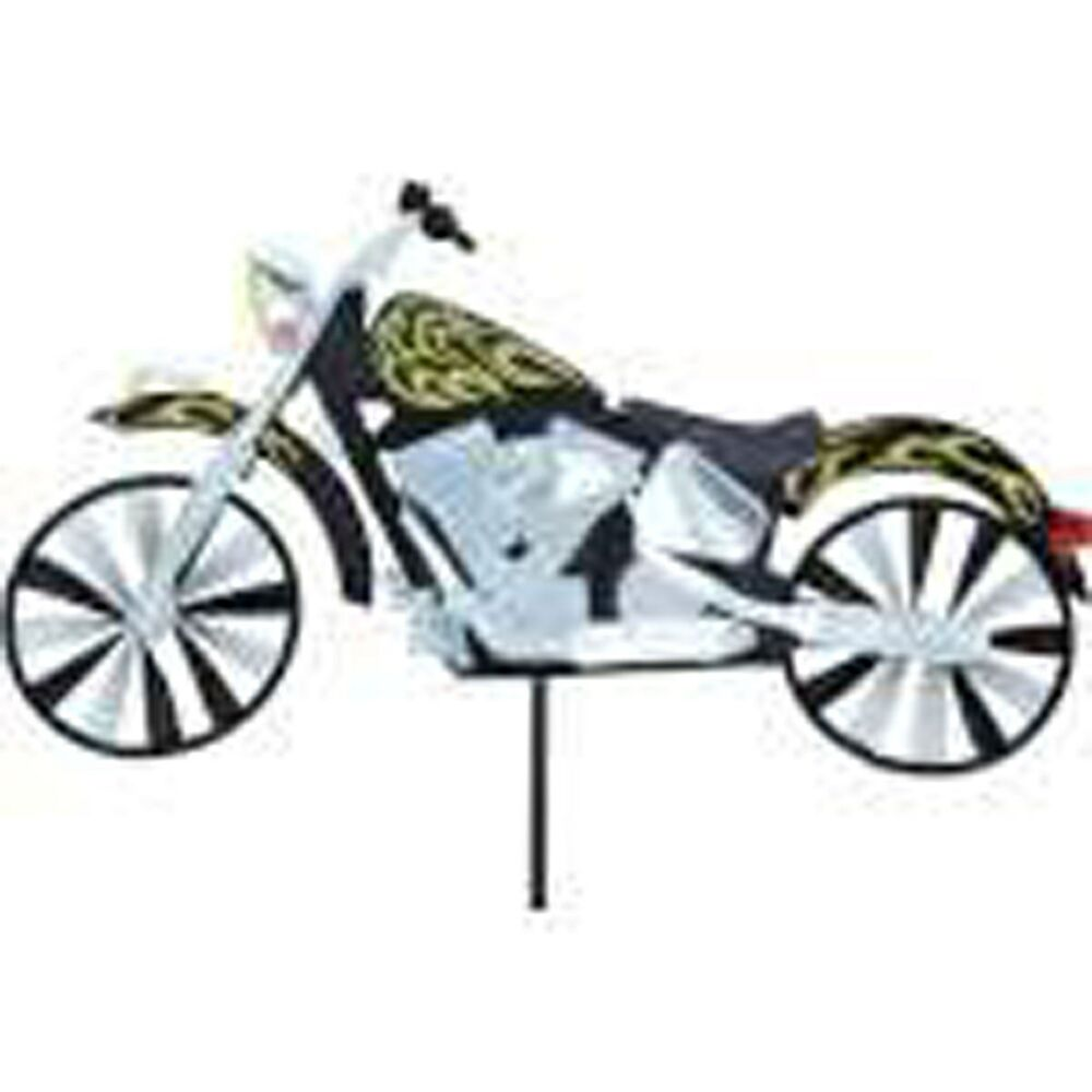 Motorcycle with flames style staked wind spinner 22 with for Garden spinners premier designs