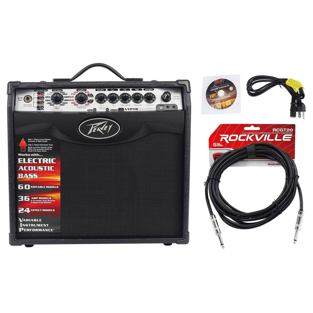 peavey vypyr vip 1 20 watt 1x8 combo practice guitar amplifier instrument cable ebay. Black Bedroom Furniture Sets. Home Design Ideas