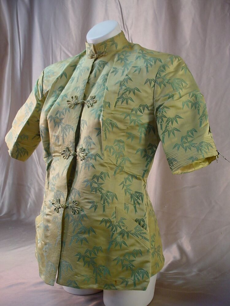 Vintage Chinese SILK BLOUSE Bamboo Pattern PLUS SIZE TOP ...