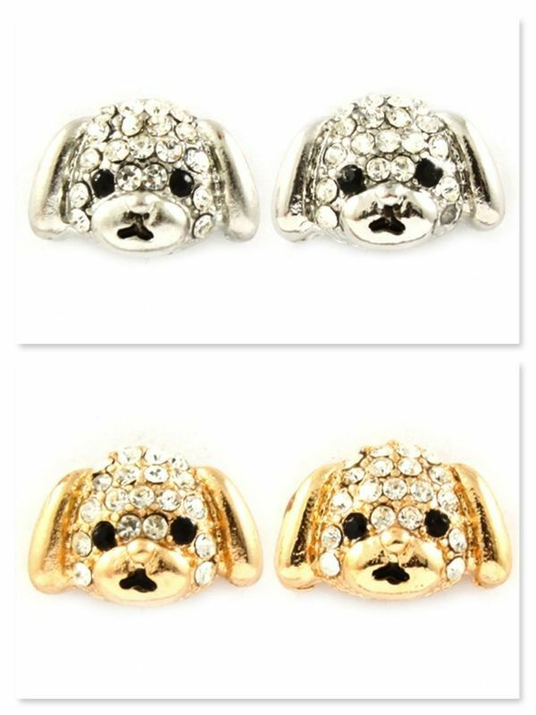 New Puppy Dogs Silver Gold Plated Earrings Crystal Studs