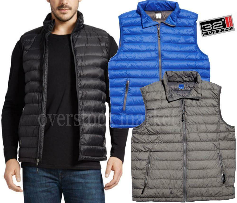 New Mens Weatherproof 32 Degrees Down Vest Packable