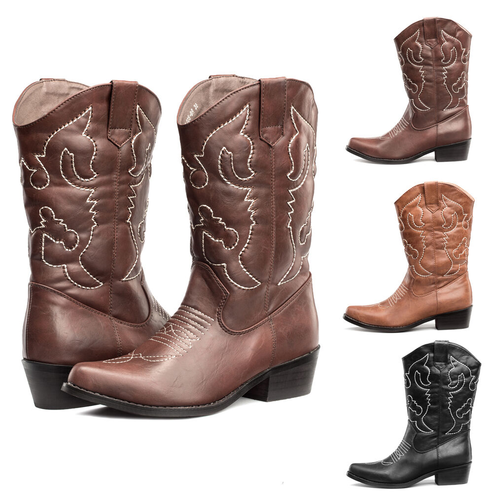 shesole womens embroidered cowboy western boots