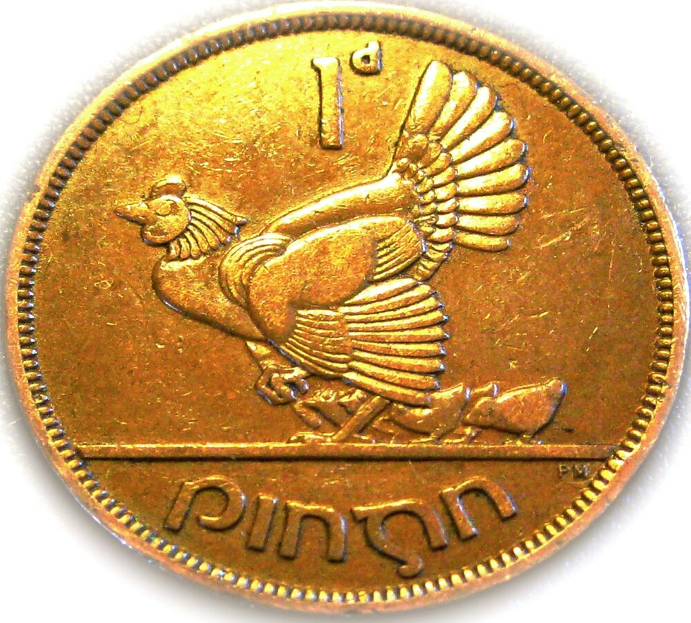 Lucky Irish One Penny Coin Minted 1948 Hen And Chicks Ireland