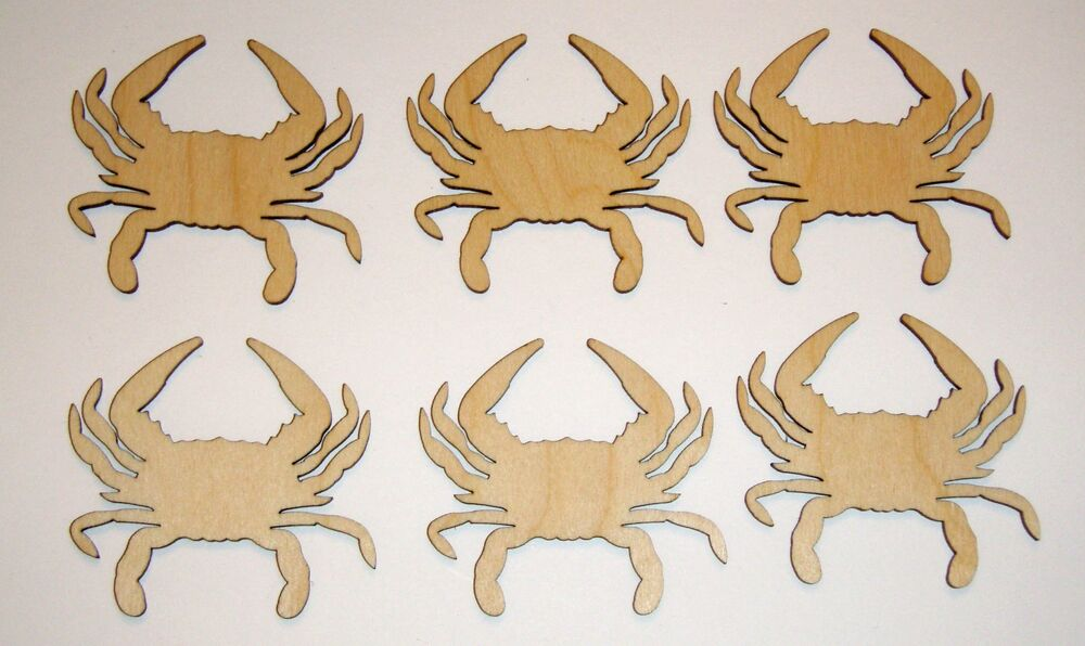 Crab Shape Cut Out Unfinished Wooden Mini Crabs Crafts 6