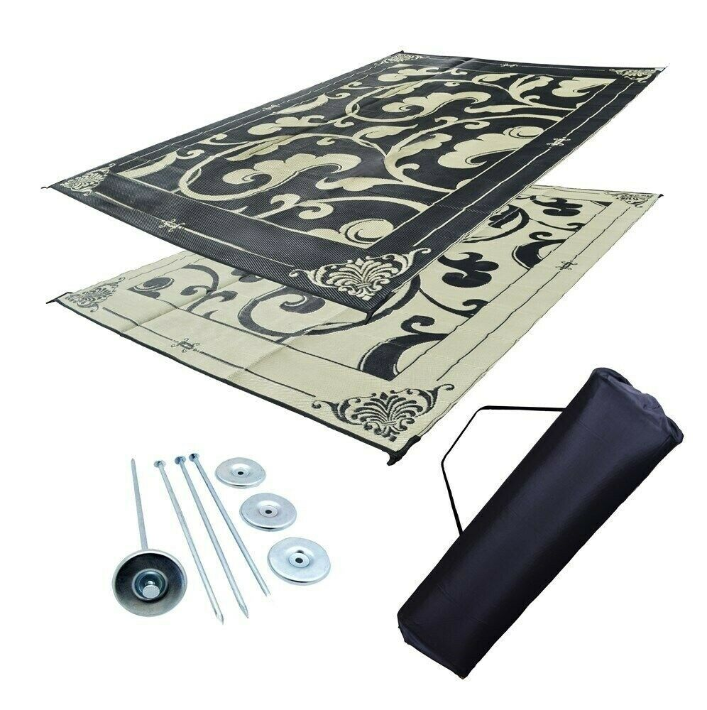 RV Patio Mat Awning Mat Outdoor Reversible Rug Beige/Black