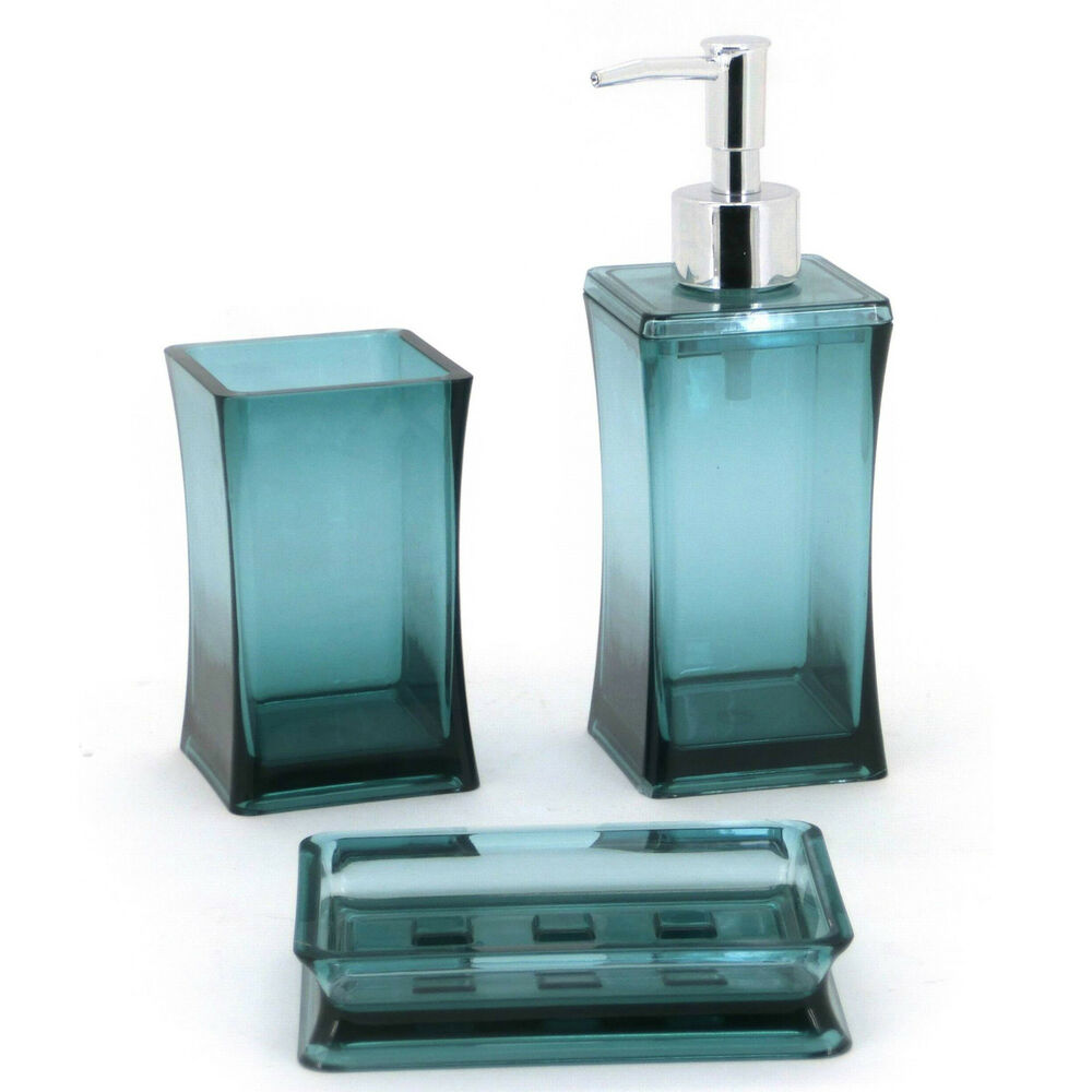 3pc aqua bathroom accessory set soap dish dispenser for Bathroom accessory sets