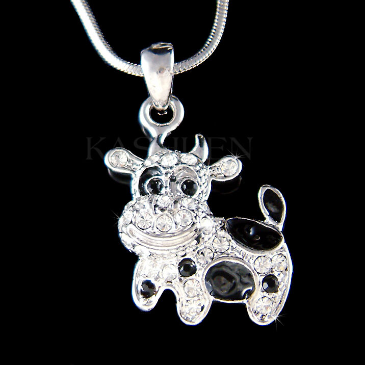 Black baby little moo moo cow calf charm necklace jewelry ebay