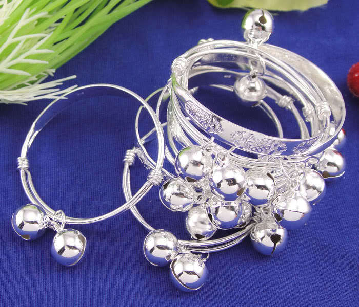 Lucky Silver Baby Infant Chinese Knot Bell Bracelet Bangle