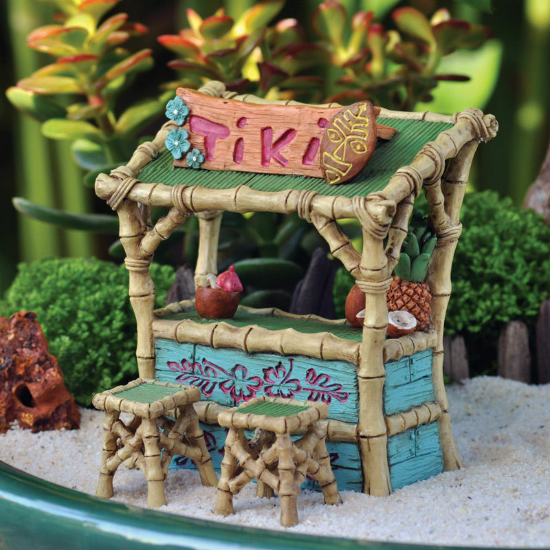 Miniature Tiki Bar And Two Stools Fairy Faerie Gnome