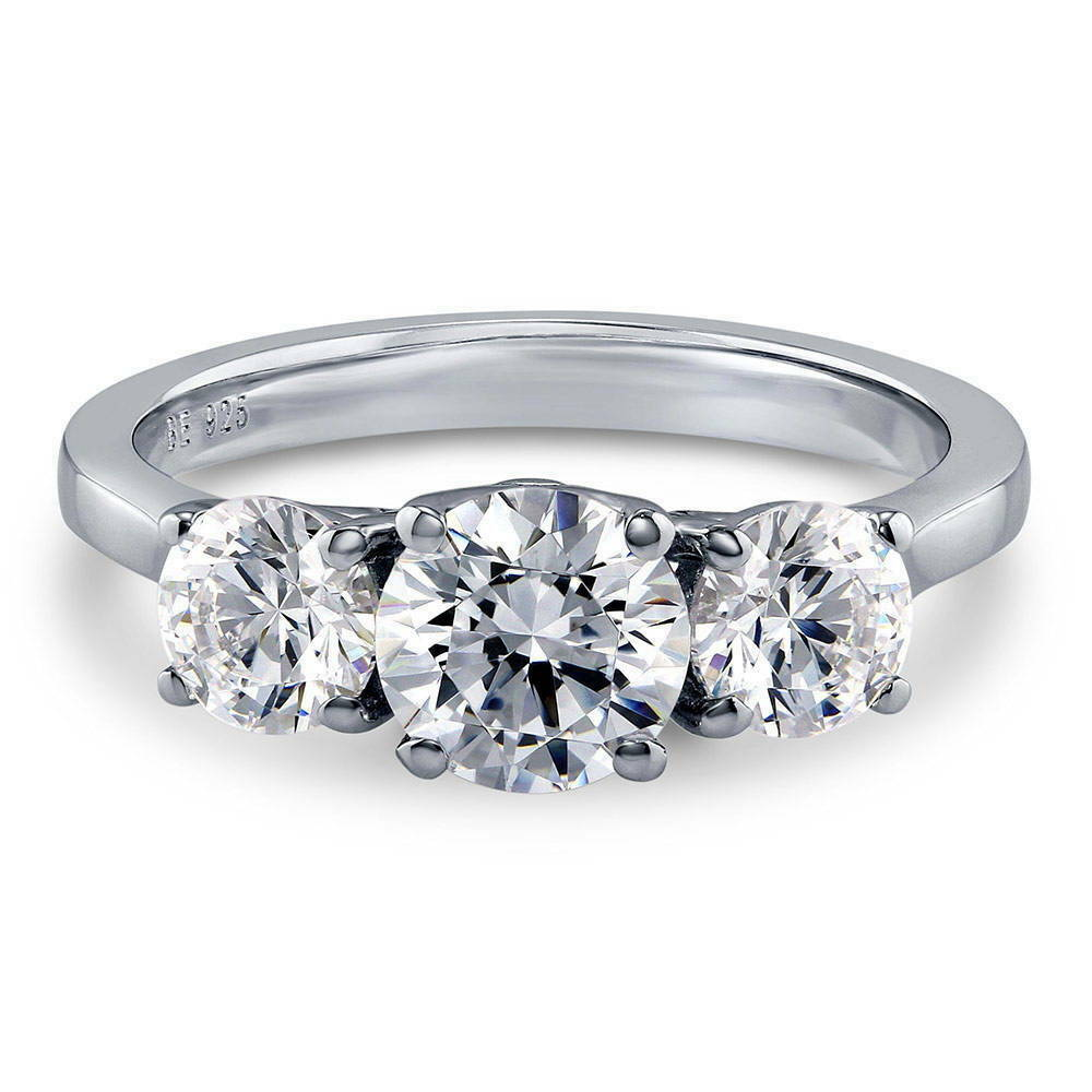 silver 3 promise engagement ring made with swarovski
